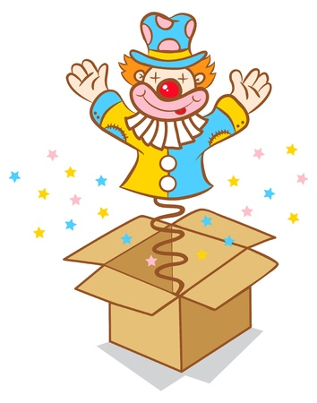 Illustration of clown jumps out of the box Ilustração