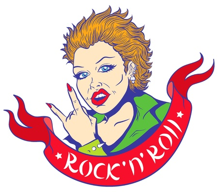 punk rock: Illustration of girl and red ribbon with text