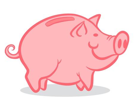 cerdo caricatura: Ilustración de una hucha rosa Vectores