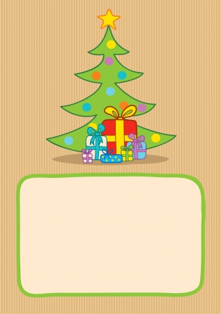 Illustration of presents and christmas tree Vector