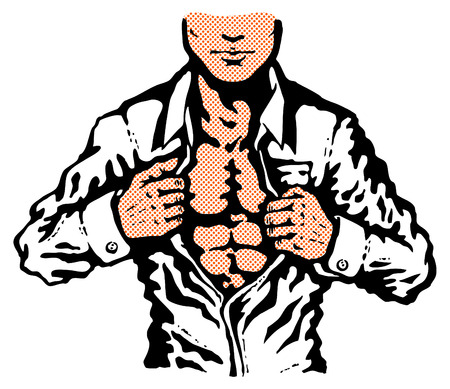 Retro illustration of man unbuttons his shirt Vector