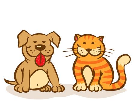 犬と猫の笑顔のイラスト