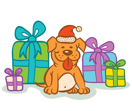 Illustration of dog and presents Vector