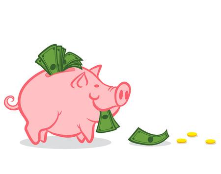 Illustration eines Sparschwein mit Geld Vektorgrafik