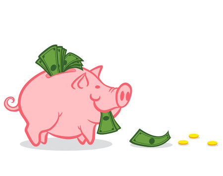 Illustration of a piggy bank with money Vector