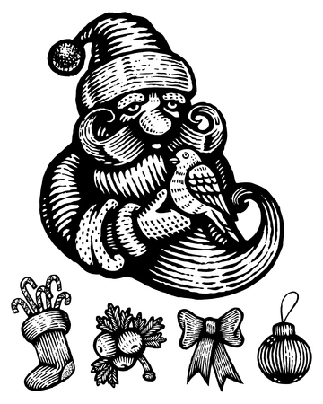 Christmas icons in the form of engravings Vector