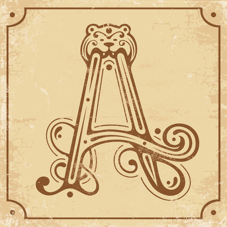 roman alphabet: Illustration of initial A on a old yellow paper Illustration