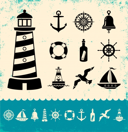 message bottle: Illustration of set marine icons