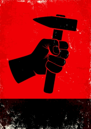 Red and black poste witth hand holding a hammer Vector