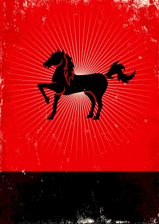 Red and black poster with horse Vector
