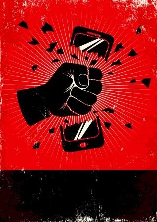 壊れた携帯電話の赤と黒のポスター
