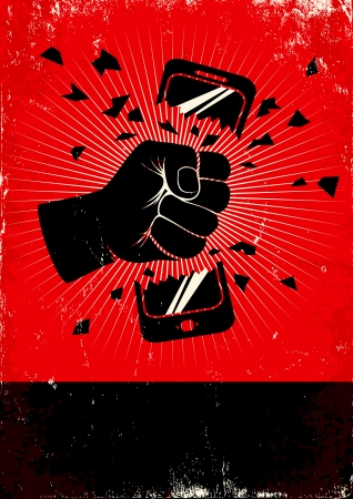 hand holding smart phone: Red and black poster of broken phone
