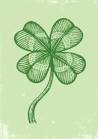 four leaf clover: Illustration clover on a green paper