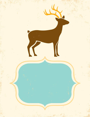 Retro poster with silhouette deer Vector