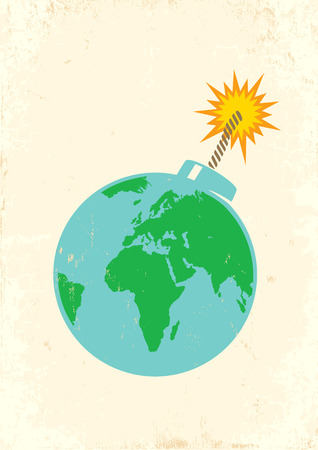 Illustration of Earth as a bomb Stock Vector - 27215582