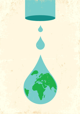 sea pollution: Illustration of pipe and drops