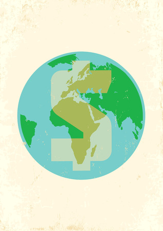 Illustration of Earth with dollar Vector