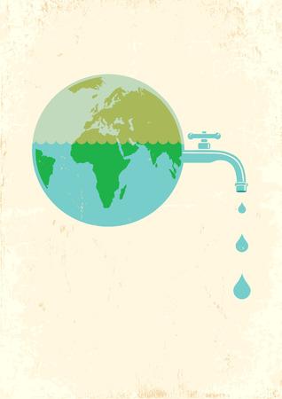 llave agua: Ilustraci�n de la Tierra con el agua del grifo