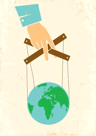 puppet master: Illustration of hand controls the globe Illustration