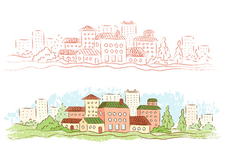 small country town: Illustration of a small country town