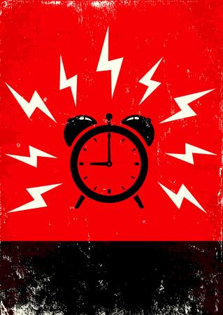 Red and black poster of alarm clock ringing Illustration