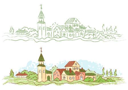 小さな田舎町のイラスト  イラスト・ベクター素材