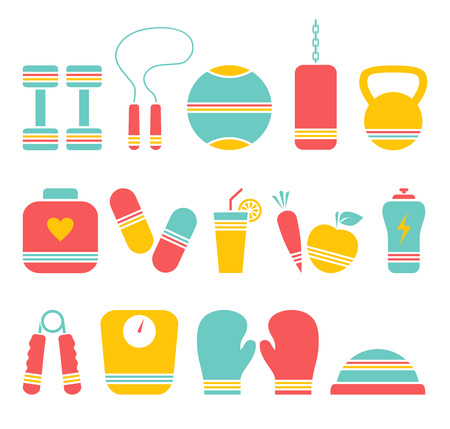 Illustration of 14 fitness colored icons Vector