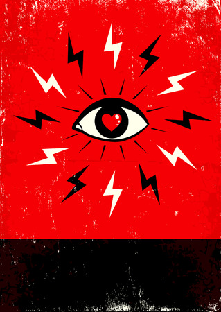 hypnosis: Red and black poster with eye and lightning Illustration