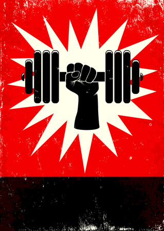 Red and black poster with hand and dumbbell