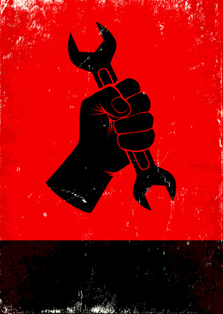worker cartoon: Red and black poster with hand holds a wrench