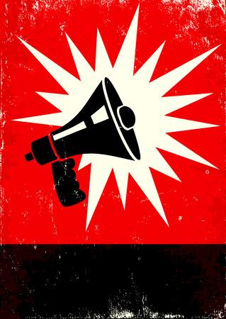 Affiche rouge et noir avec un mégaphone Vecteurs