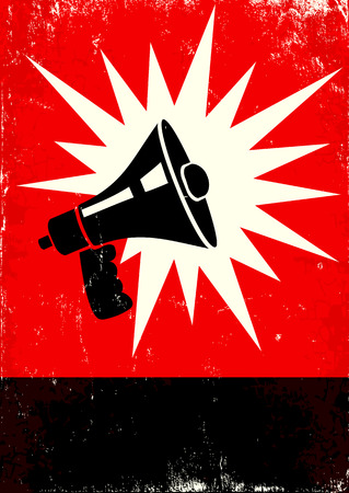 Red and black poster with megaphone