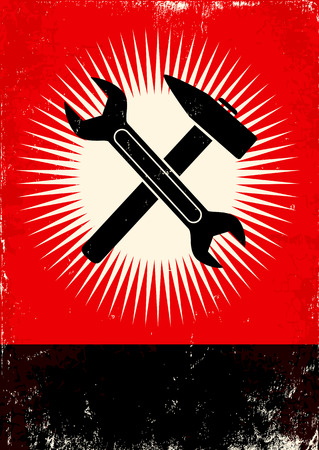 Red and black poster with wrench and hammer Vector