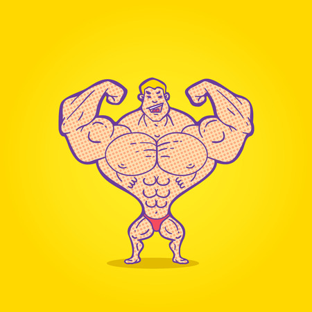 Illustration bodybuilder posing on a colored background