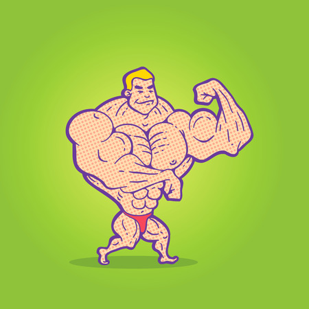 flexing: Illustration bodybuilder posing on a colored background
