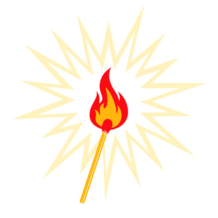 Retro illustration of burning match Vector