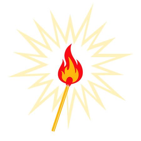 arson: Retro illustration of burning match Illustration