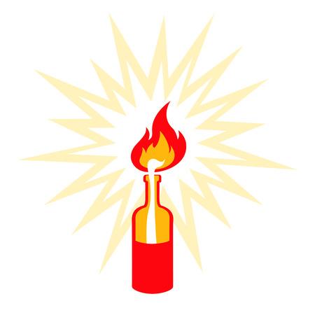 molotov: Retro illustration of molotov cocktail