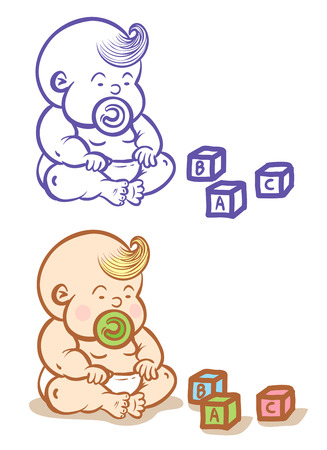 Illustration of baby and toys Vector