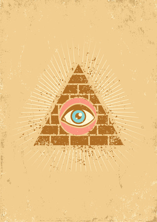 freemasons: Poster with pyramid and eye Illustration