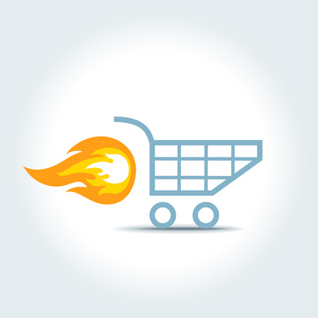 push cart: Illustration of a shopping cart with flame