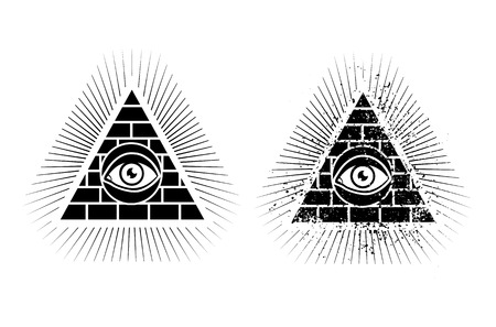 Set icons of pyramid and eye