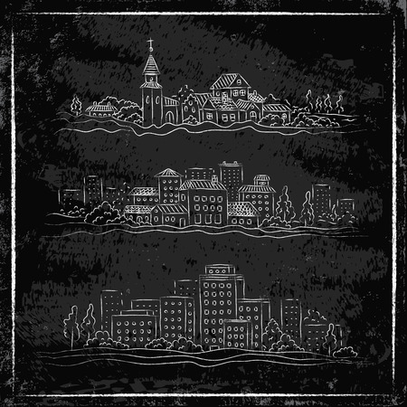 Set illustration of a cities on chalkboard Vector