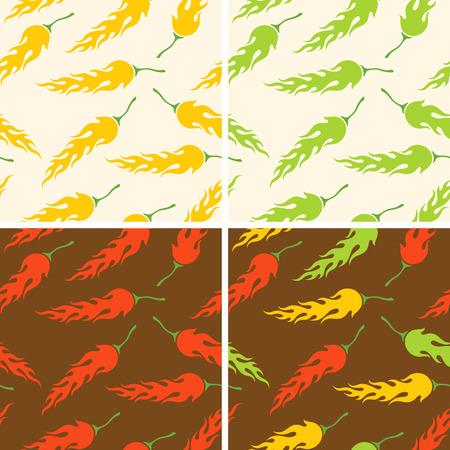 habanero: Seamless chili peppers pattern Illustration