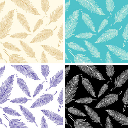 lightweight ornaments: Set seamless feather patterns