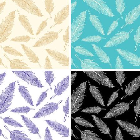 Set seamless feather patterns