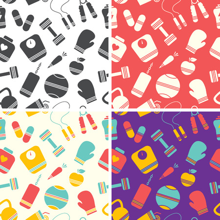 Set of a seamless fitness pattern Vector