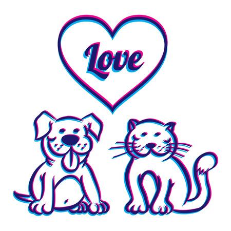 pampered: Illustration od a dog and cat Illustration