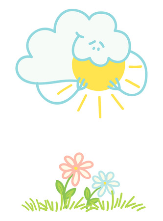 Illustration of a cloud absorbs the sun Vector