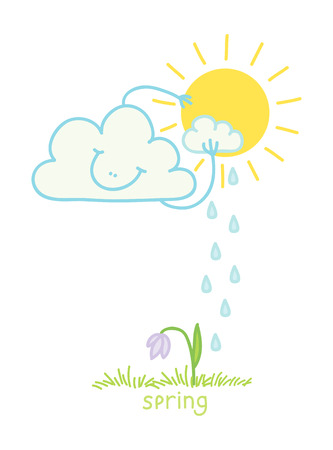 wheather forecast: Illustration of a cloud sun washes Illustration